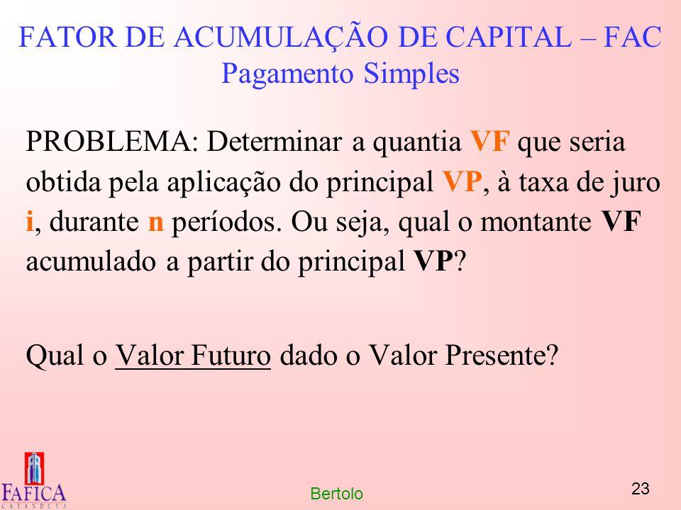 23 Bertolo FATOR DE ACUMULAÇÃO DE CAPITAL – FAC Pagamento Simples PROBLEMA: Determinar a quantia VF que seria obtida pela aplicação do principal VP, à