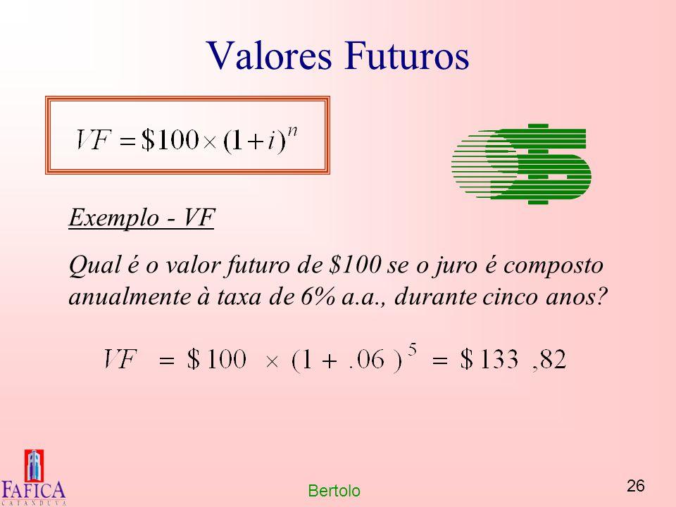 26 Bertolo Valores Futuros Exemplo - VF Qual é o valor futuro de $100 se o juro é composto anualmente à taxa de 6% a.a., durante cinco anos?