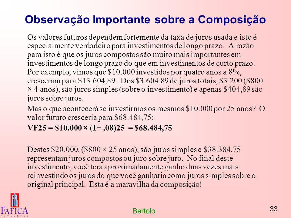 33 Bertolo Observação Importante sobre a Composição Os valores futuros dependem fortemente da taxa de juros usada e isto é especialmente verdadeiro pa
