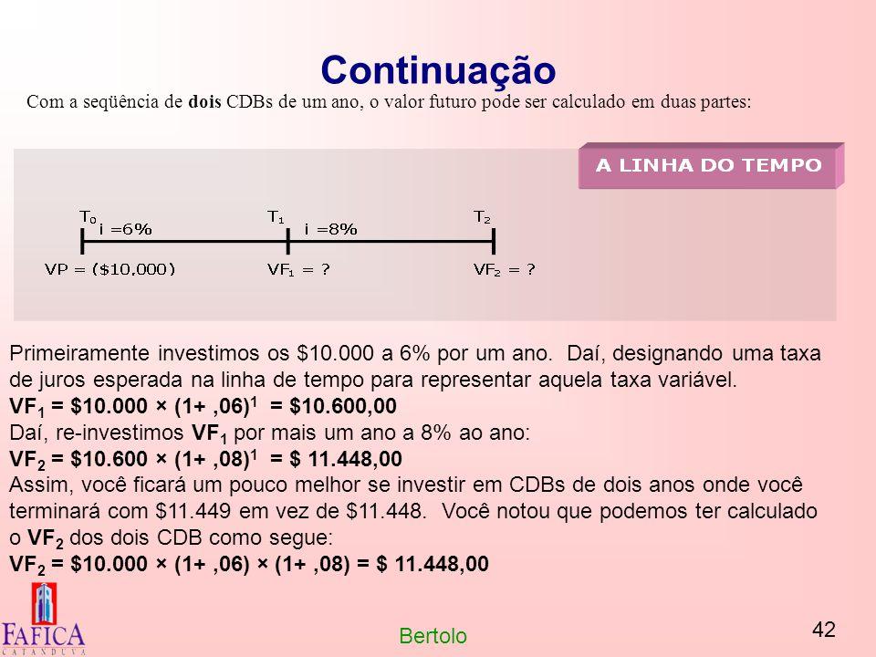 42 Bertolo Continuação Com a seqüência de dois CDBs de um ano, o valor futuro pode ser calculado em duas partes: Primeiramente investimos os $10.000 a