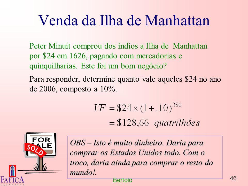 46 Bertolo Venda da Ilha de Manhattan Peter Minuit comprou dos índios a Ilha de Manhattan por $24 em 1626, pagando com mercadorias e quinquilharias. E