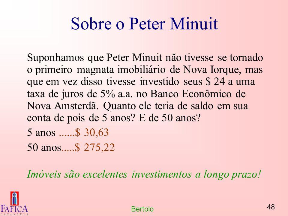 48 Bertolo Sobre o Peter Minuit Suponhamos que Peter Minuit não tivesse se tornado o primeiro magnata imobiliário de Nova Iorque, mas que em vez disso