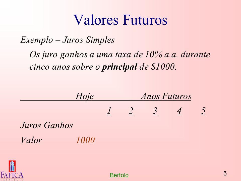 5 Bertolo Valores Futuros Exemplo – Juros Simples Os juro ganhos a uma taxa de 10% a.a. durante cinco anos sobre o principal de $1000. HojeAnos Futuro