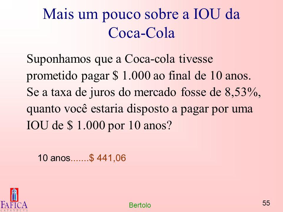55 Bertolo Mais um pouco sobre a IOU da Coca-Cola Suponhamos que a Coca-cola tivesse prometido pagar $ 1.000 ao final de 10 anos. Se a taxa de juros d