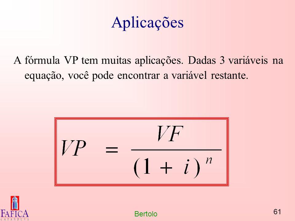 61 Bertolo Aplicações A fórmula VP tem muitas aplicações. Dadas 3 variáveis na equação, você pode encontrar a variável restante.