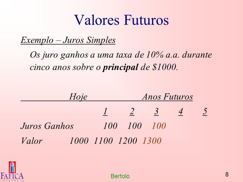 8 Bertolo Valores Futuros Exemplo – Juros Simples Os juro ganhos a uma taxa de 10% a.a. durante cinco anos sobre o principal de $1000. HojeAnos Futuro