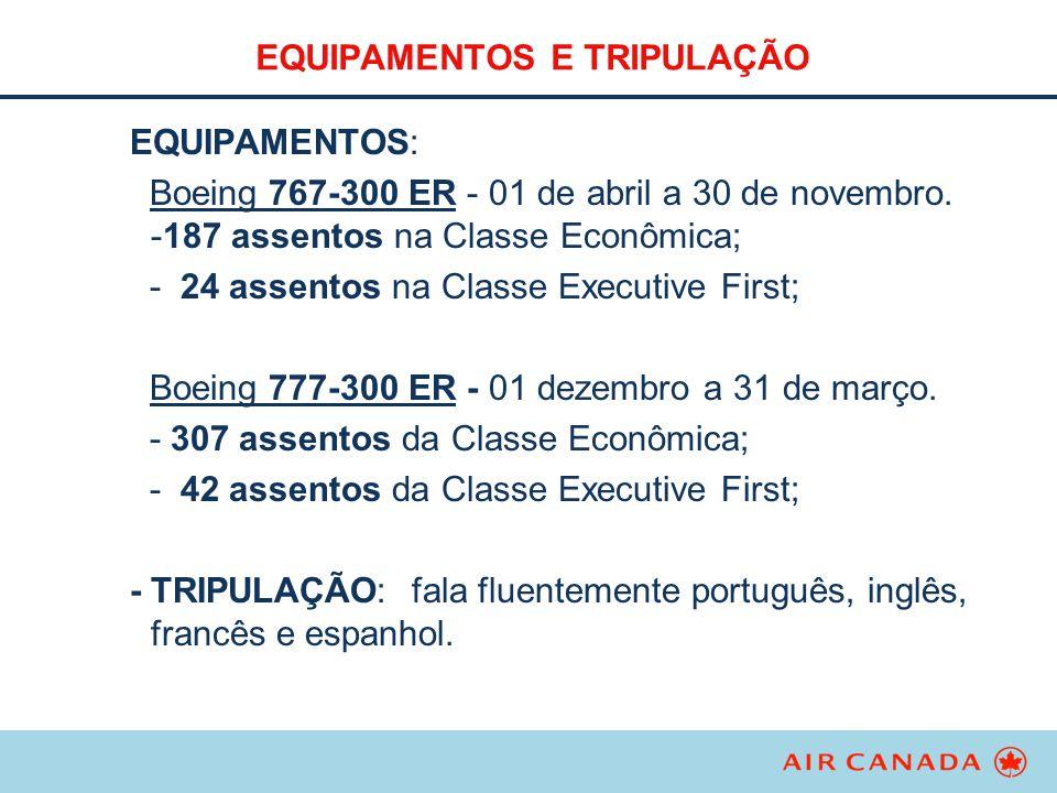 EQUIPAMENTOS E TRIPULAÇÃO EQUIPAMENTOS: Boeing 767-300 ER - 01 de abril a 30 de novembro. -187 assentos na Classe Econômica; - 24 assentos na Classe E
