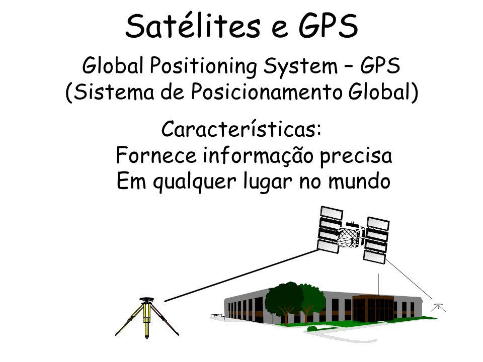 Satélites e GPS Global Positioning System – GPS (Sistema de Posicionamento Global) Características: Fornece informação precisa Em qualquer lugar no mu