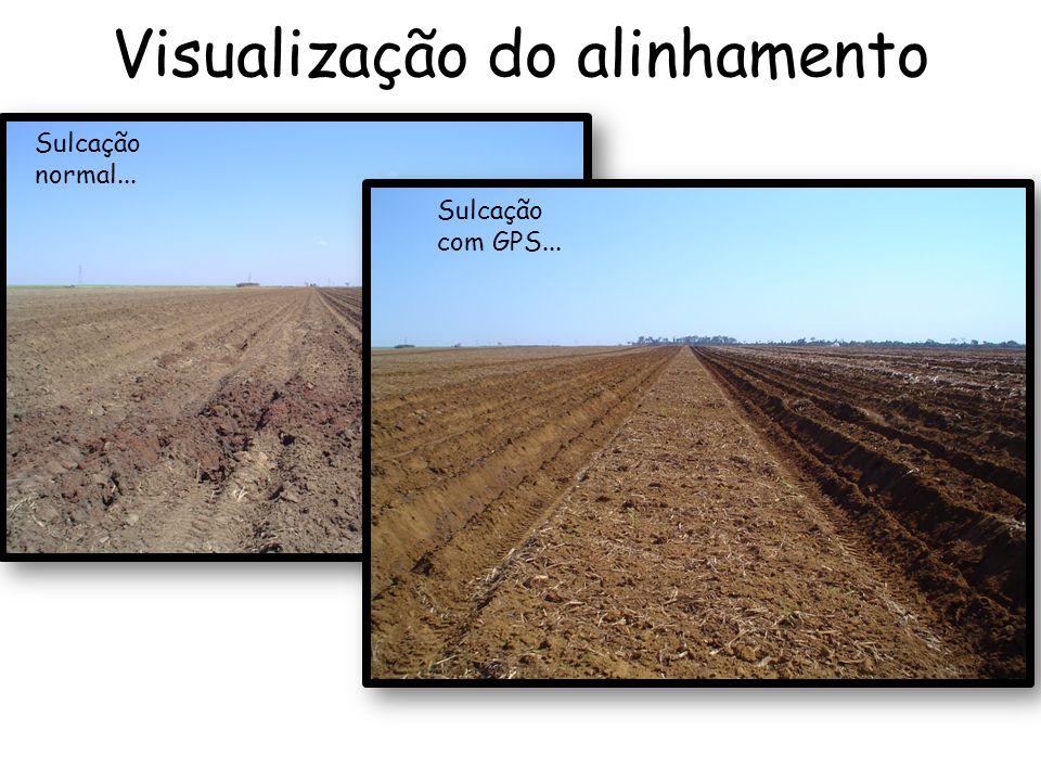 Visualização do alinhamento Sulcação com GPS... Sulcação normal...