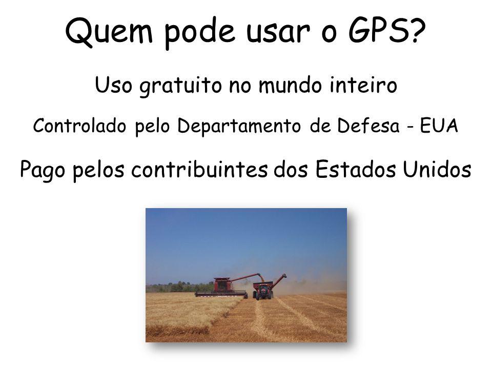 Quem pode usar o GPS? Controlado pelo Departamento de Defesa - EUA Uso gratuito no mundo inteiro Pago pelos contribuintes dos Estados Unidos