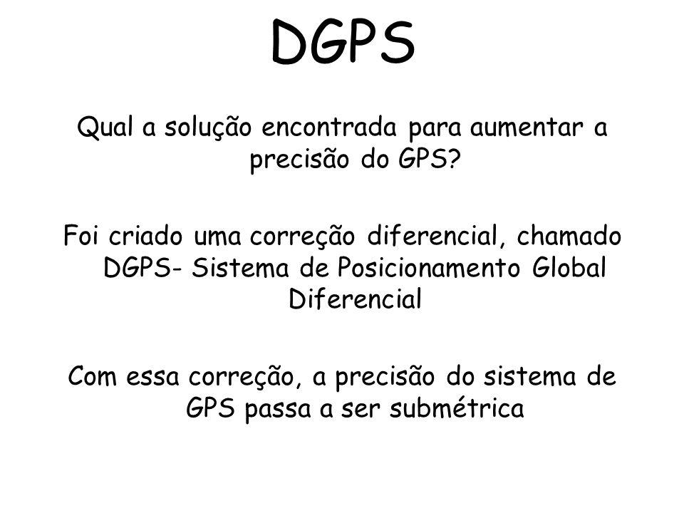 Qual a solução encontrada para aumentar a precisão do GPS? Foi criado uma correção diferencial, chamado DGPS- Sistema de Posicionamento Global Diferen