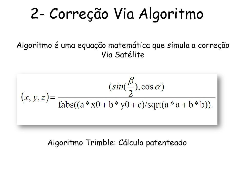 Algoritmo Trimble: Cálculo patenteado Algoritmo é uma equação matemática que simula a correção Via Satélite 2- Correção Via Algoritmo