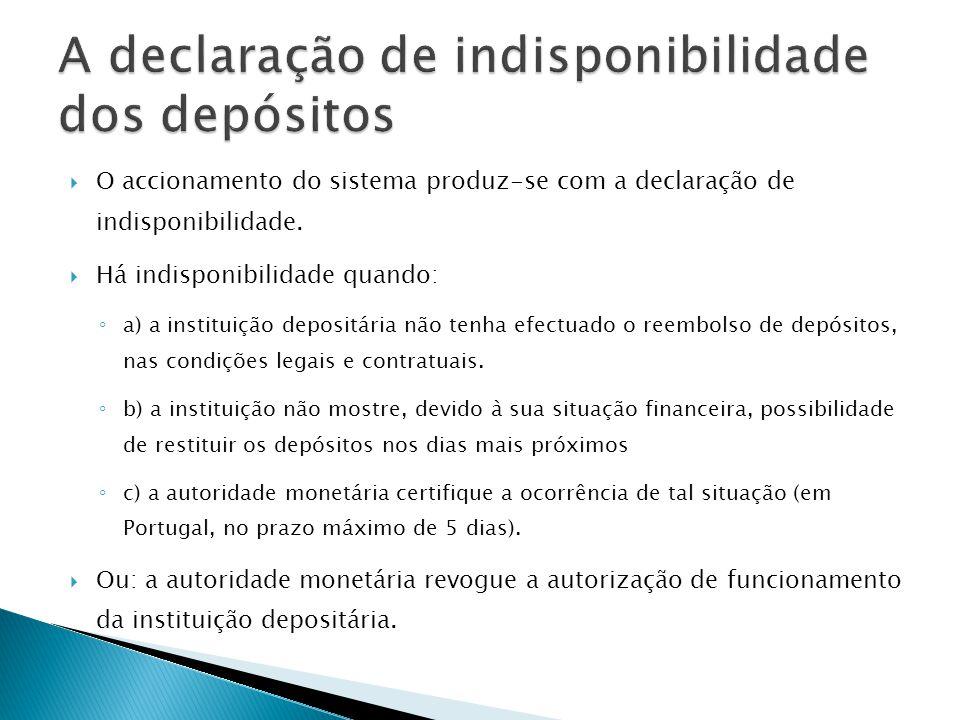 O accionamento do sistema produz-se com a declaração de indisponibilidade. Há indisponibilidade quando: a) a instituição depositária não tenha efectua