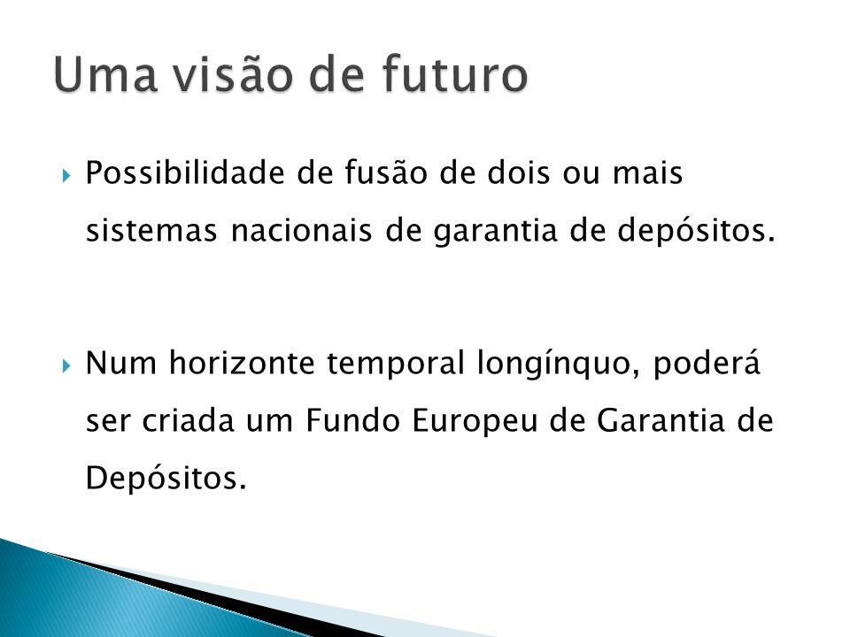 Possibilidade de fusão de dois ou mais sistemas nacionais de garantia de depósitos. Num horizonte temporal longínquo, poderá ser criada um Fundo Europ