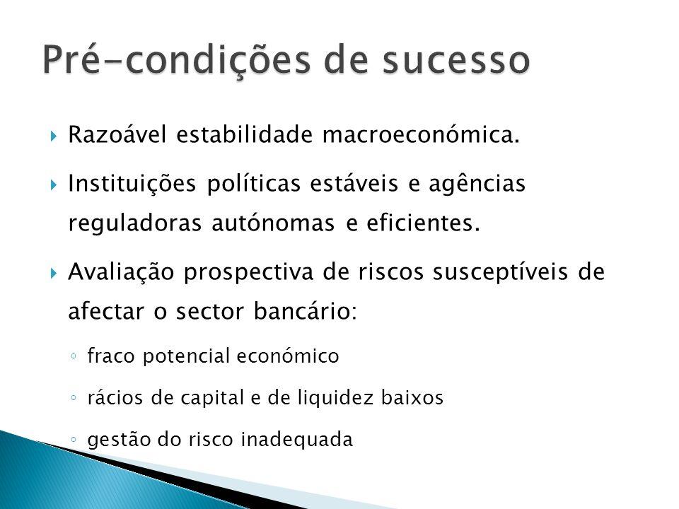 Razoável estabilidade macroeconómica. Instituições políticas estáveis e agências reguladoras autónomas e eficientes. Avaliação prospectiva de riscos s