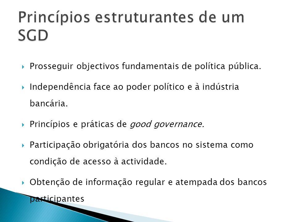 Prosseguir objectivos fundamentais de política pública. Independência face ao poder político e à indústria bancária. Princípios e práticas de good gov