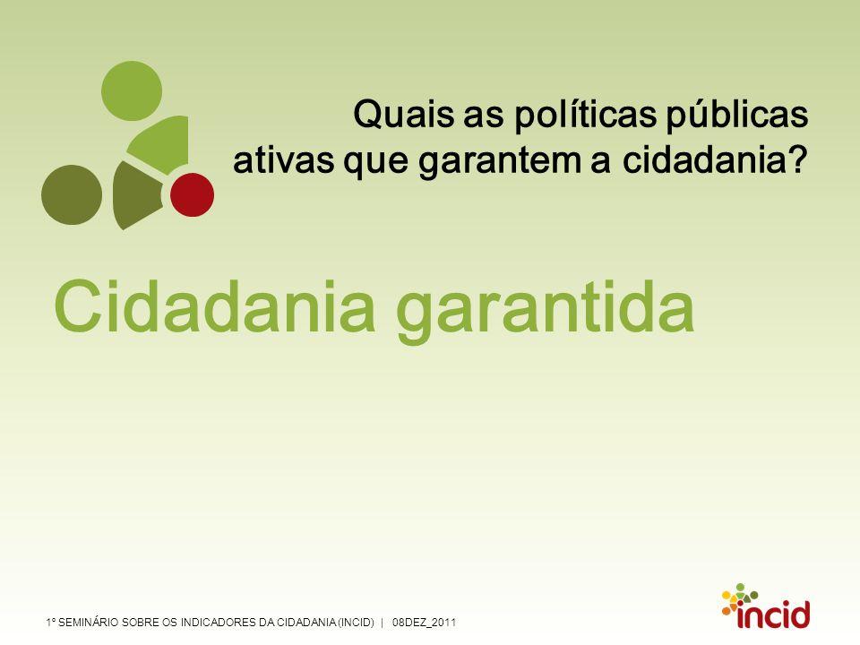 1º SEMINÁRIO SOBRE OS INDICADORES DA CIDADANIA (INCID) | 08DEZ_2011 Quais as políticas públicas ativas que garantem a cidadania? Cidadania garantida