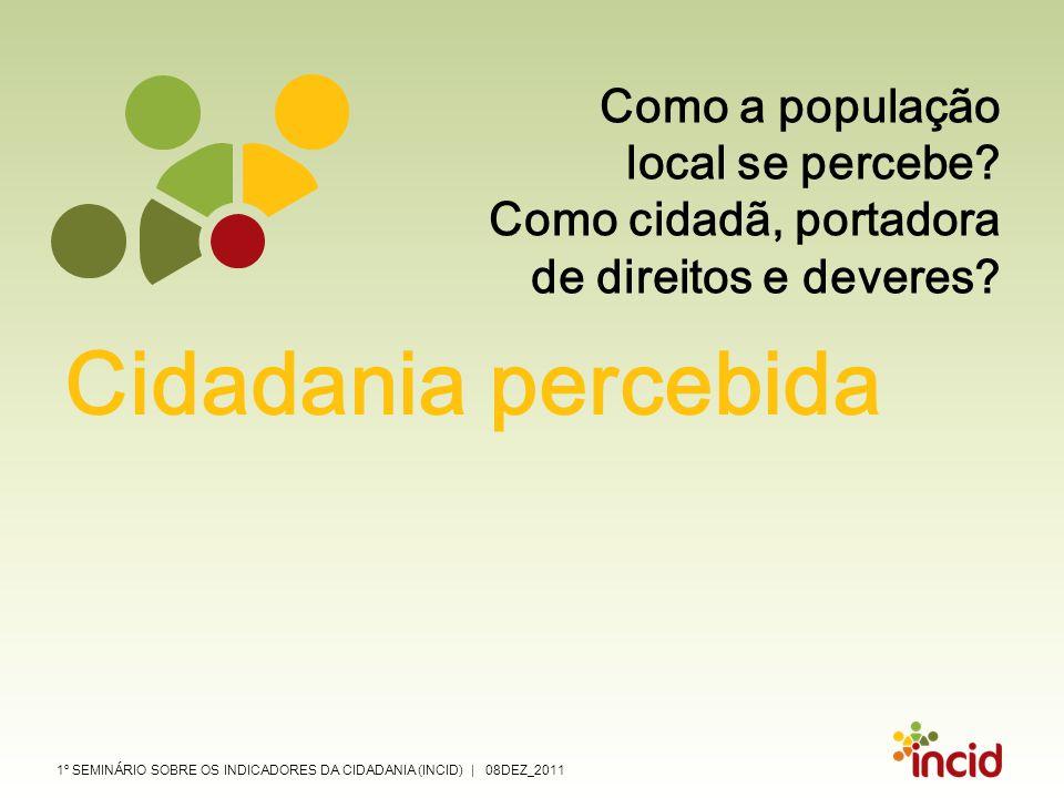 1º SEMINÁRIO SOBRE OS INDICADORES DA CIDADANIA (INCID) | 08DEZ_2011 Como a população local se percebe? Como cidadã, portadora de direitos e deveres? C
