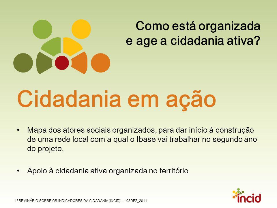 1º SEMINÁRIO SOBRE OS INDICADORES DA CIDADANIA (INCID) | 08DEZ_2011 Como está organizada e age a cidadania ativa? Cidadania em ação Mapa dos atores so