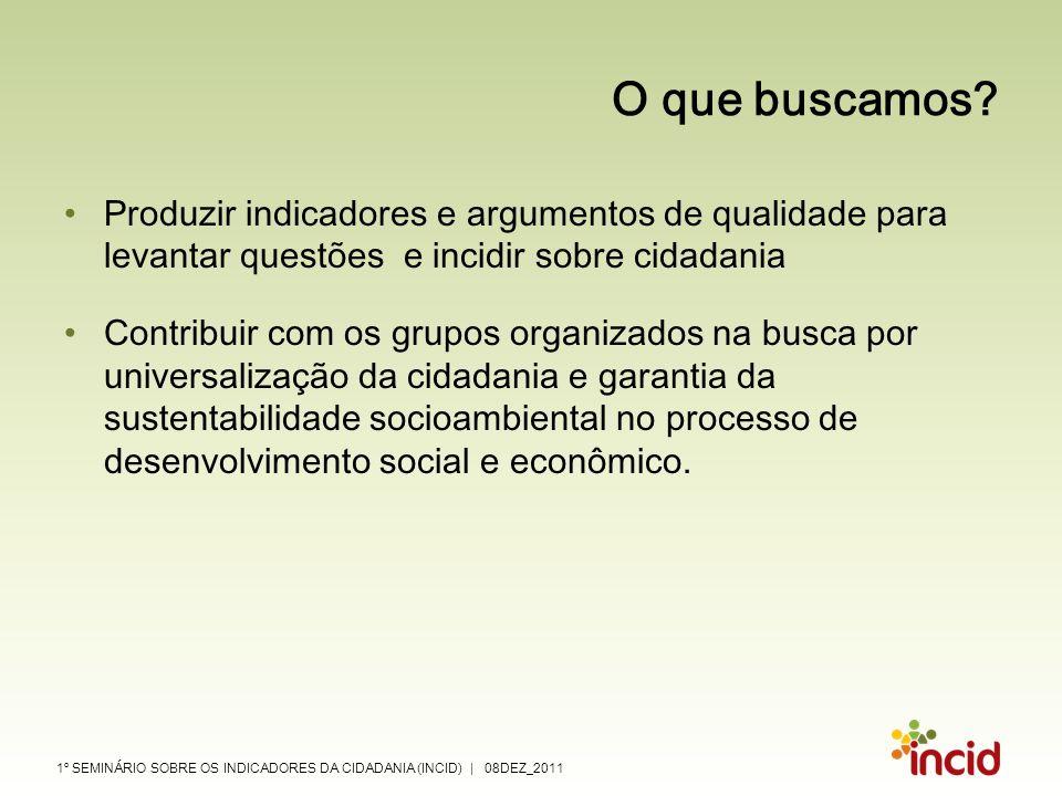 1º SEMINÁRIO SOBRE OS INDICADORES DA CIDADANIA (INCID) | 08DEZ_2011 O que buscamos? Produzir indicadores e argumentos de qualidade para levantar quest