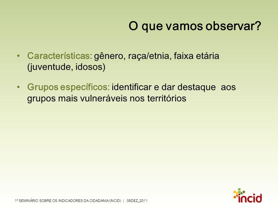 1º SEMINÁRIO SOBRE OS INDICADORES DA CIDADANIA (INCID) | 08DEZ_2011 O que vamos observar? Características: gênero, raça/etnia, faixa etária (juventude