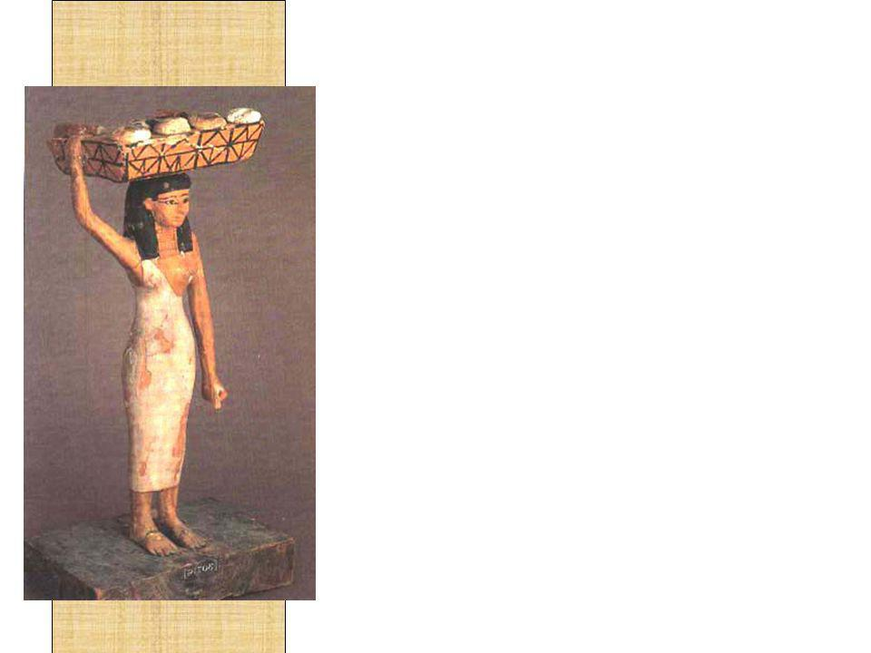 Pães e bolos eram preparados nas casas das pessoas ricas e também nos templos, o que incluía a moagem dos grãos.