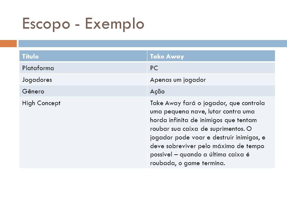Escopo - Exemplo TítuloTake Away PlataformaPC JogadoresApenas um jogador GêneroAção High ConceptTake Away fará o jogador, que controla uma pequena nav