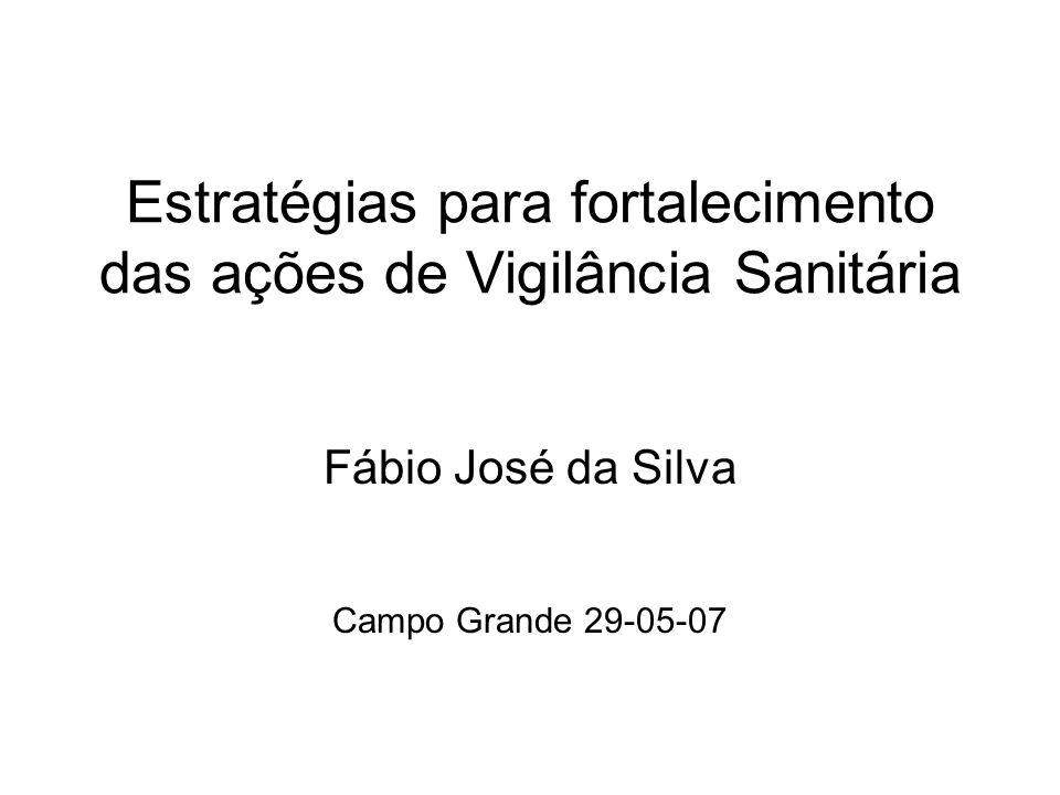 Estratégias para fortalecimento das ações de Vigilância Sanitária Fábio José da Silva Campo Grande 29-05-07