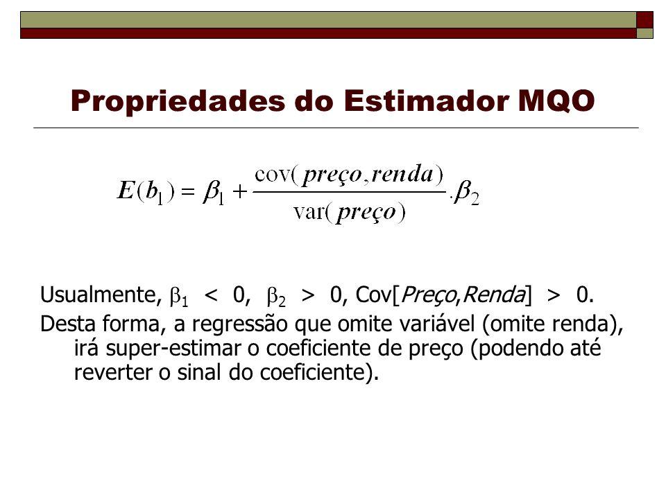 Usualmente, 1 0, Cov[Preço,Renda] > 0. Desta forma, a regressão que omite variável (omite renda), irá super-estimar o coeficiente de preço (podendo at