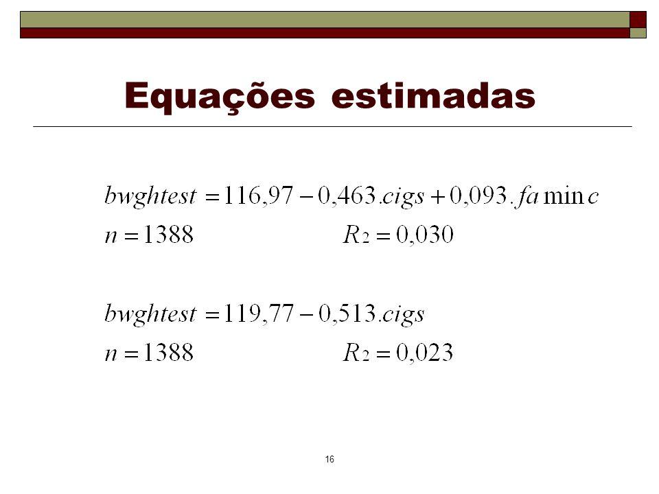 16 Equações estimadas