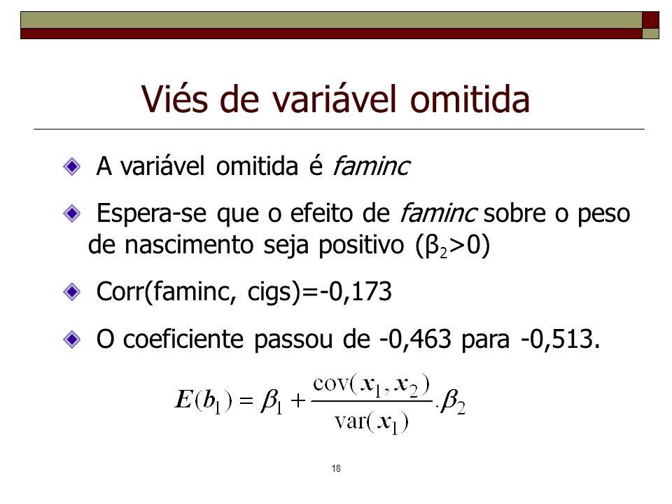 18 Viés de variável omitida A variável omitida é faminc Espera-se que o efeito de faminc sobre o peso de nascimento seja positivo (β 2 >0) Corr(faminc