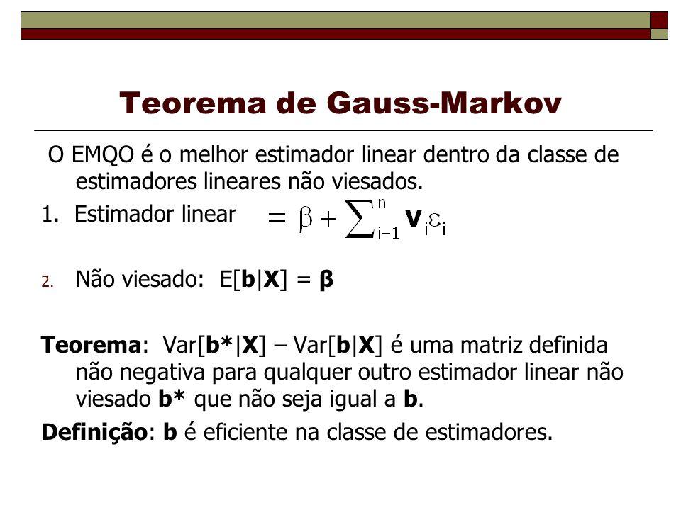Teorema de Gauss-Markov O EMQO é o melhor estimador linear dentro da classe de estimadores lineares não viesados. 1. Estimador linear 2. Não viesado: