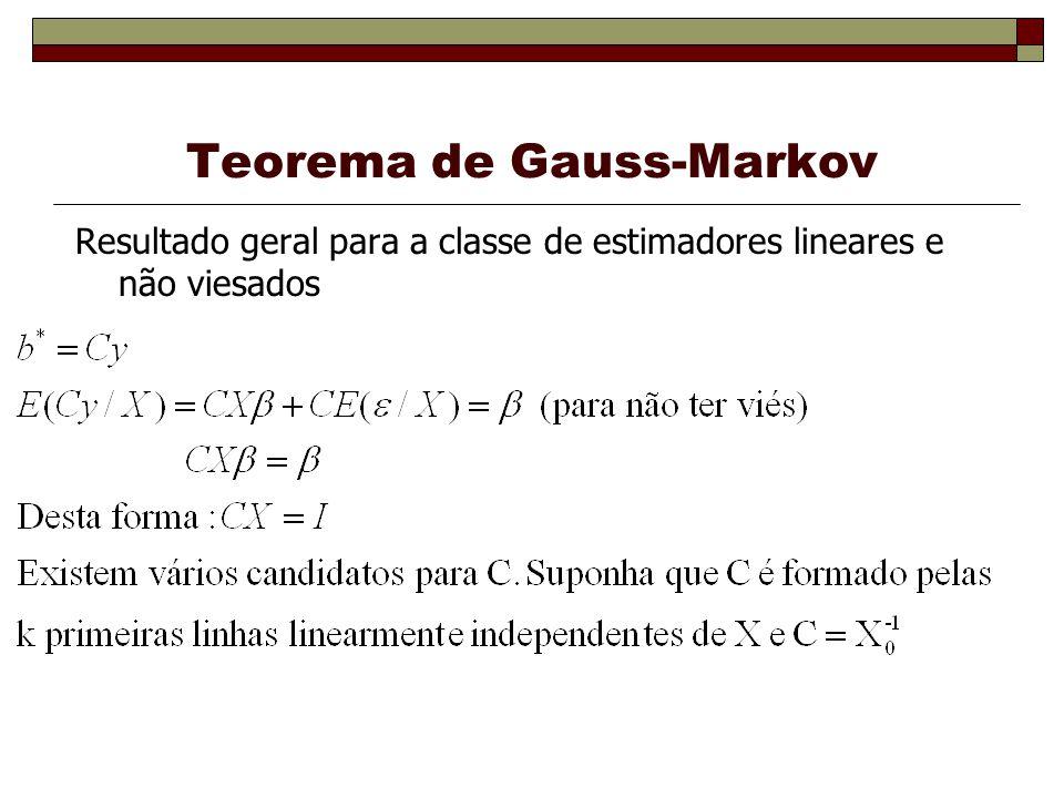 Teorema de Gauss-Markov Resultado geral para a classe de estimadores lineares e não viesados