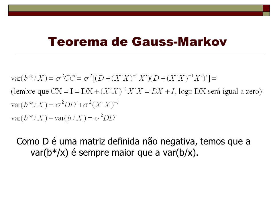 Teorema de Gauss-Markov Como D é uma matriz definida não negativa, temos que a var(b*/x) é sempre maior que a var(b/x).