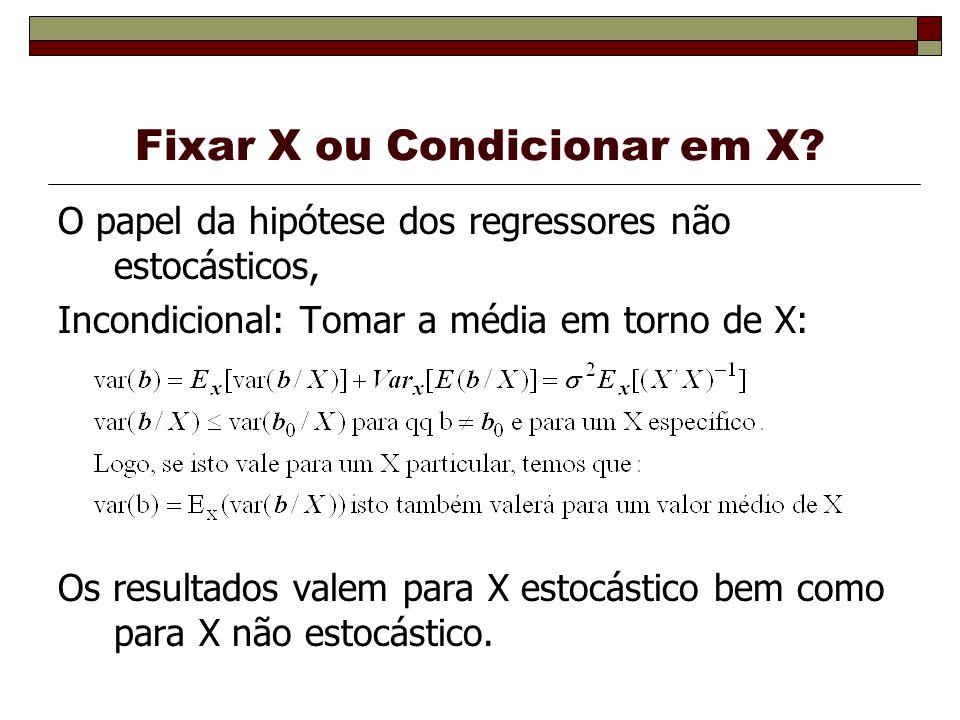 Fixar X ou Condicionar em X? O papel da hipótese dos regressores não estocásticos, Incondicional: Tomar a média em torno de X: Os resultados valem par