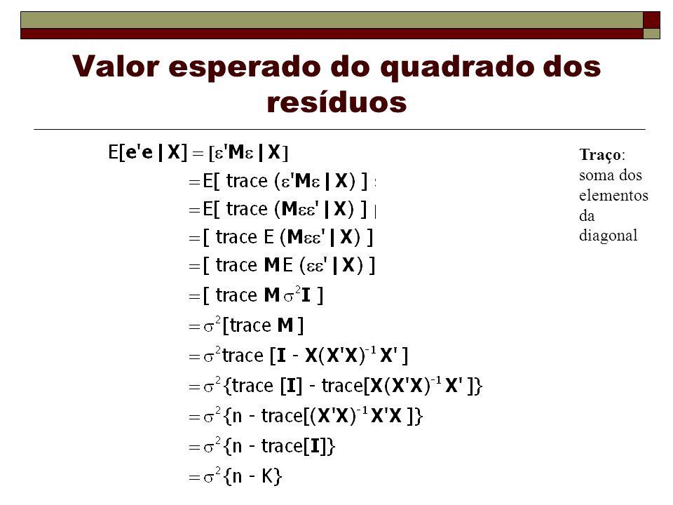 Valor esperado do quadrado dos resíduos Traço: soma dos elementos da diagonal