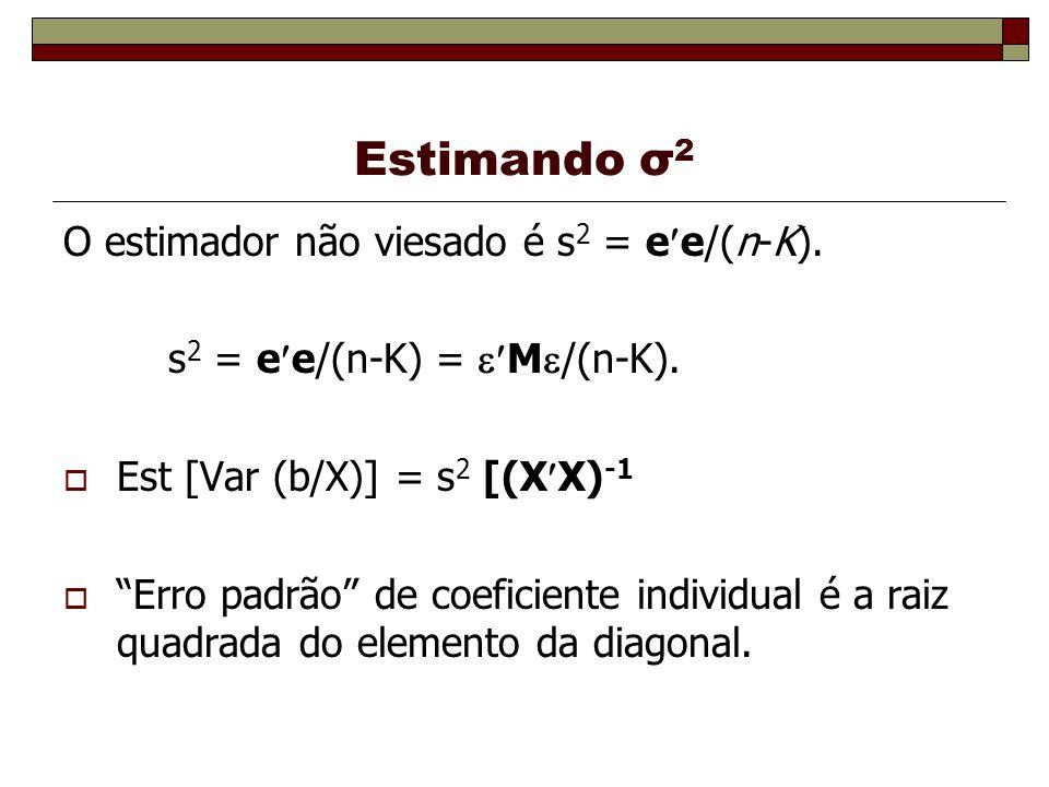 Estimando σ 2 O estimador não viesado é s 2 = e e/(n-K). s 2 = e e/(n-K) = M /(n-K). Est [Var (b/X)] = s 2 [(X X) -1 Erro padrão de coeficiente indivi