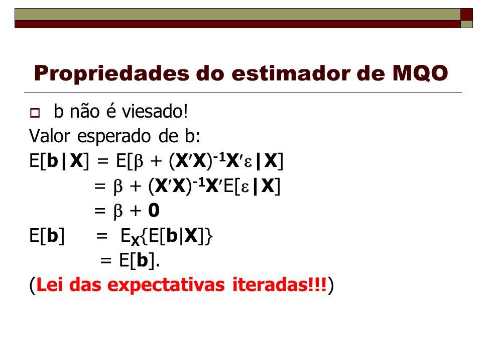 Propriedades do estimador de MQO b não é viesado! Valor esperado de b: E[b|X] = E[ + (X X) -1 X |X] = + (X X) -1 X E[ |X] = + 0 E[b] = E X {E[b|X]} =