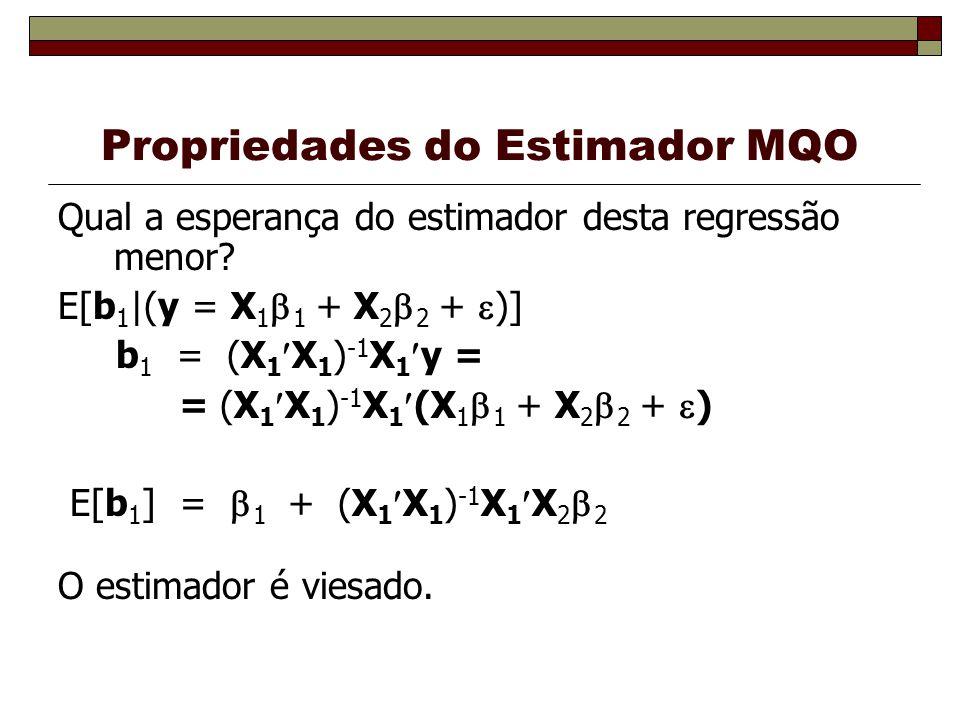 Propriedades do Estimador MQO Qual a esperança do estimador desta regressão menor? E[b 1 |(y = X 1 1 + X 2 2 + )] b 1 = (X 1 X 1 ) -1 X 1 y = = (X 1 X