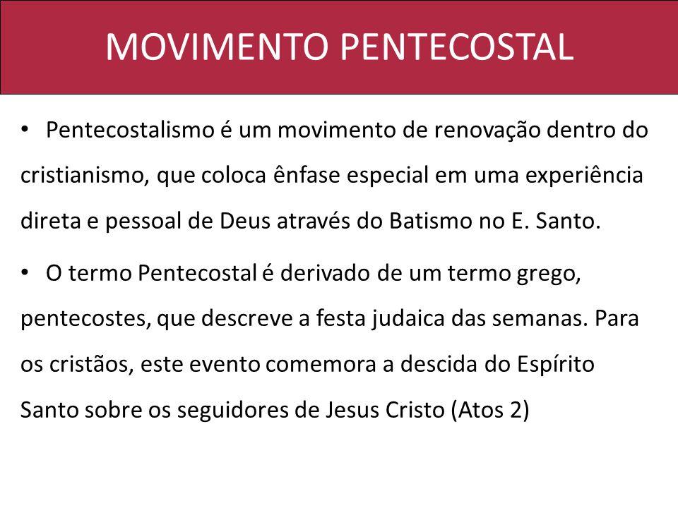 Pentecostalismo é um movimento de renovação dentro do cristianismo, que coloca ênfase especial em uma experiência direta e pessoal de Deus através do Batismo no E.