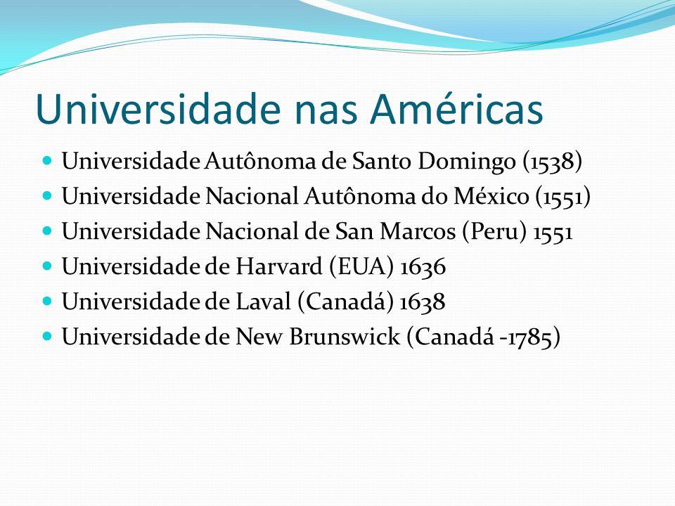 Universidade nas Américas Universidade Autônoma de Santo Domingo (1538) Universidade Nacional Autônoma do México (1551) Universidade Nacional de San M