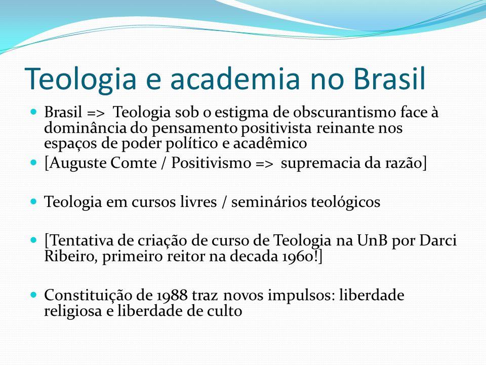 Teologia e academia no Brasil Brasil => Teologia sob o estigma de obscurantismo face à dominância do pensamento positivista reinante nos espaços de po