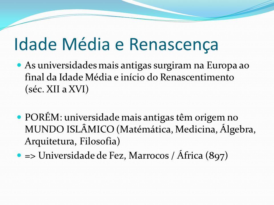 UNIVERSIDADE MAIS ANTIGAS Universidade de Pádua (Itália) 1222 Universidade de Nápoles 1224 Universidade de Toulose (França) 1229) Universidade de Coimbra (1290) Universidade Complutense (1293) Universidade de Roma (1303) Universidade de Florença (1321) Universidade de Heidelberg / Alemanha (1386)