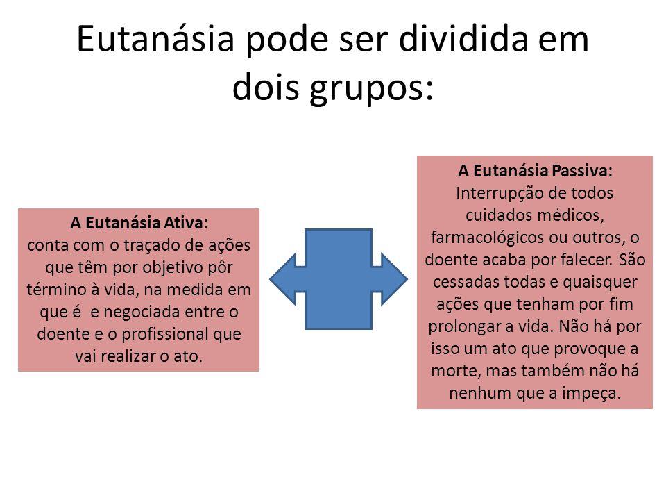 Eutanásia pode ser dividida em dois grupos: A Eutanásia Ativa: conta com o traçado de ações que têm por objetivo pôr término à vida, na medida em que