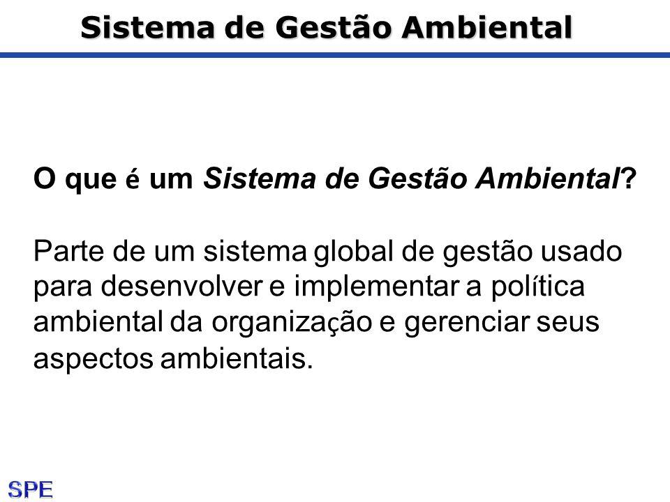 Sistema de Gestão Ambiental O que é um Sistema de Gestão Ambiental? Parte de um sistema global de gestão usado para desenvolver e implementar a pol í