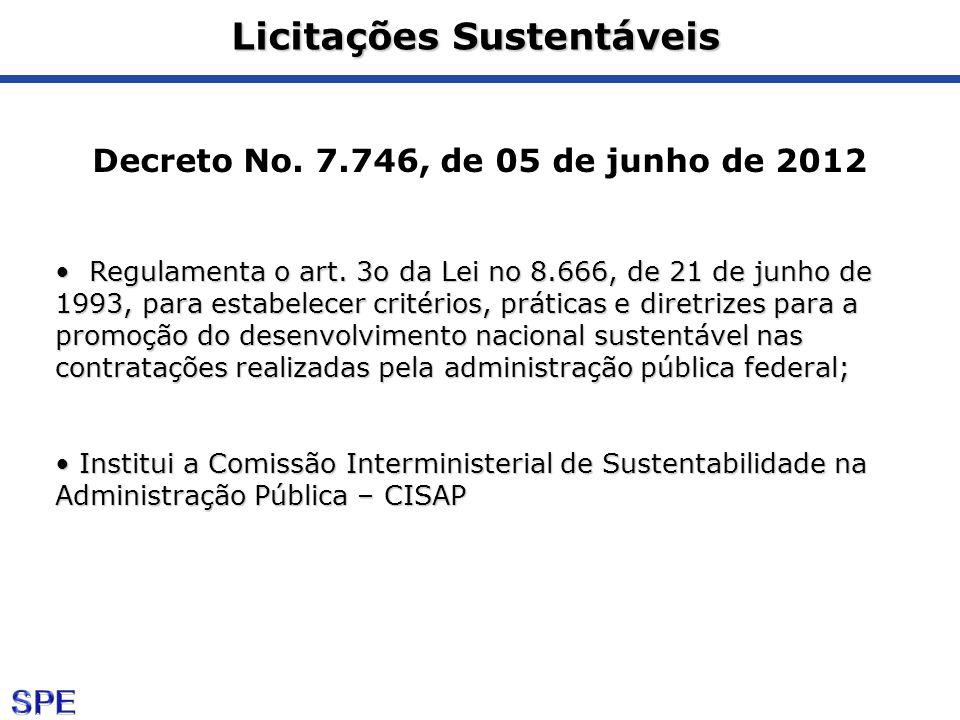 Licitações Sustentáveis Decreto No. 7.746, de 05 de junho de 2012 Regulamenta o art. 3o da Lei no 8.666, de 21 de junho de 1993, para estabelecer crit