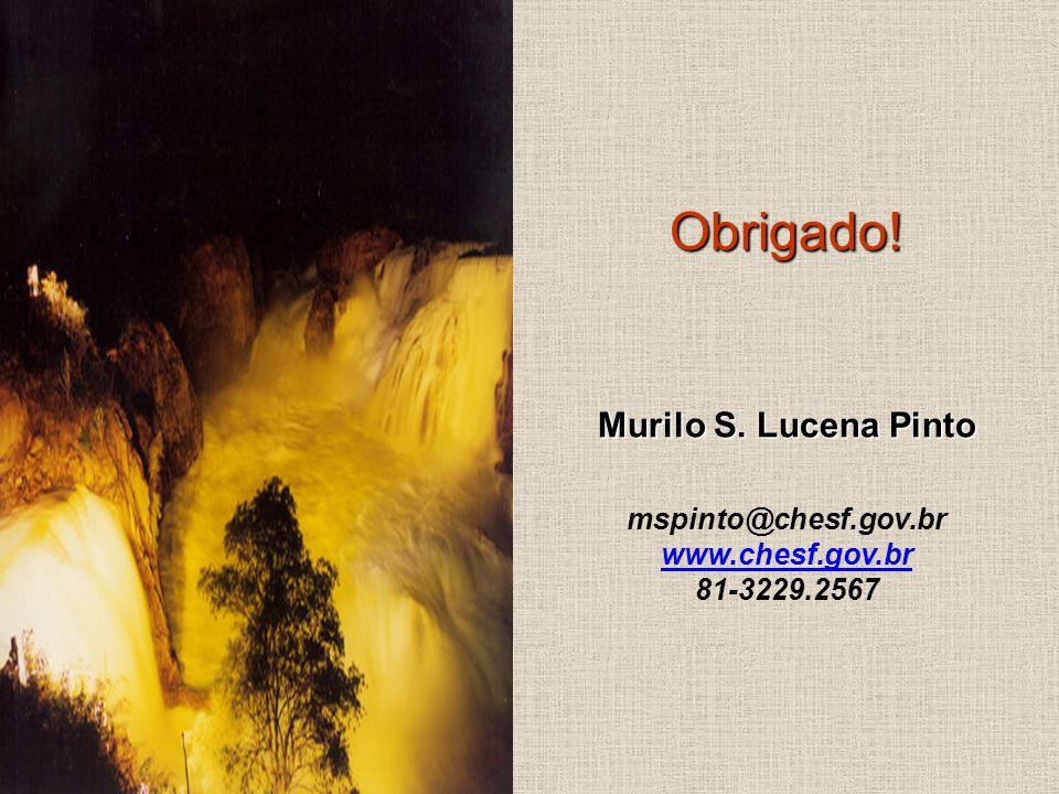 Obrigado! Murilo S. Lucena Pinto mspinto@chesf.gov.br www.chesf.gov.br 81-3229.2567