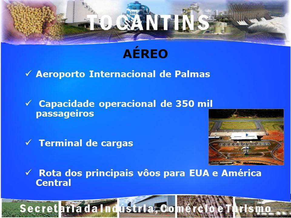 AÉREO Aeroporto Internacional de Palmas Capacidade operacional de 350 mil passageiros Terminal de cargas Rota dos principais vôos para EUA e América C