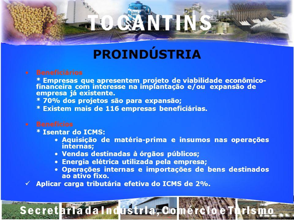 PROINDÚSTRIA Beneficiários * Empresas que apresentem projeto de viabilidade econômico- financeira com interesse na implantação e/ou expansão de empres