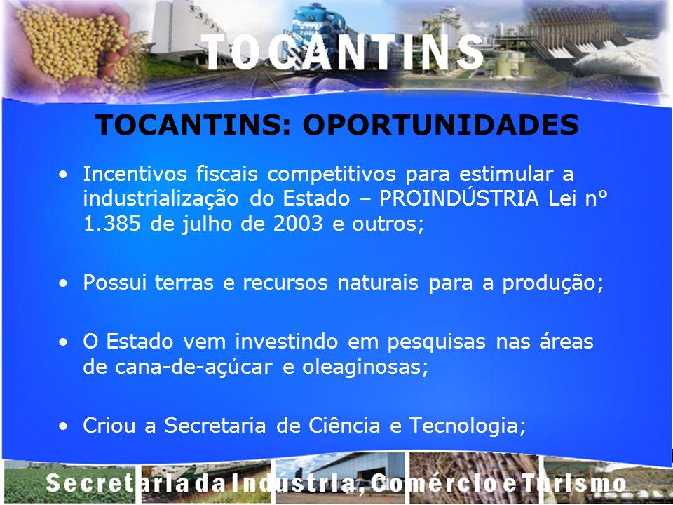 TOCANTINS: OPORTUNIDADES Incentivos fiscais competitivos para estimular a industrialização do Estado – PROINDÚSTRIA Lei n° 1.385 de julho de 2003 e ou